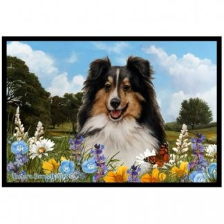Tri Shetland Sheepdog Mat - Summer Flowers