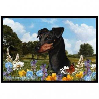 Miniature Pinscher Mat - Summer Flowers (Uncropped-Black Tan)
