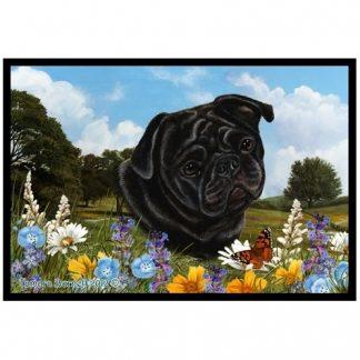 Pug Mat - Summer Flowers (Black)