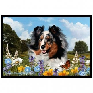 Blue Merle Shetland Sheepdog Mat - Summer Flowers