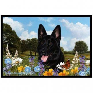 German Shepherd Mat - Summer Flowers (Black)