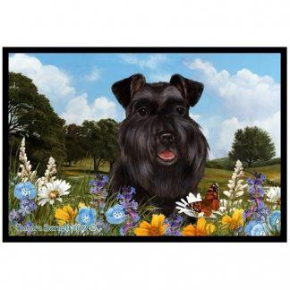 Schnauzer Mat - Summer Flowers (Black-Uncropped)