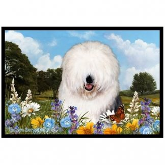 Old English Sheepdog Mat - Summer Flowers