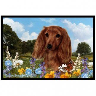 Longhaired Dachshund Mat - Summer Flowers