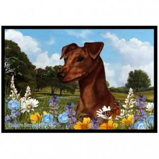 Miniature Pinscher Mat - Summer Flowers (Uncropped-Red)