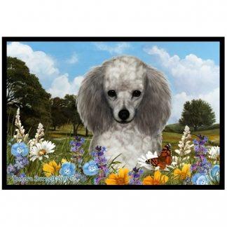 Silver Poodle Mat - Summer Flowers
