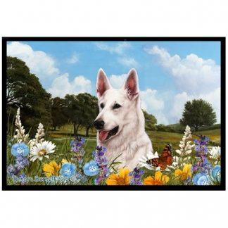 German Shepherd Mat - Summer Flowers (White)