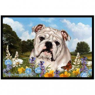 Bulldog Mat - Summer Flowers (White)