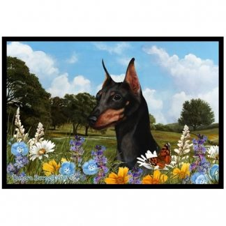 Miniature Pinscher Mat - Summer Flowers (Black Tan)