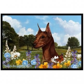 Miniature Pinscher Mat - Summer Flowers (Red)