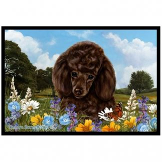 Chocolate Poodle Mat - Summer Flowers