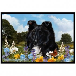 Bi Black Shetland Sheepdog Mat - Summer Flowers