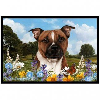 Pitbull Terrier Mat - Summer Flowers