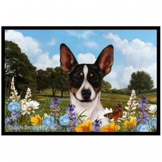 Rat Terrier Mat - Summer Flowers (Tri)