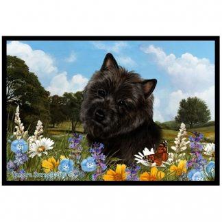Cairn Terrier Mat - Summer Flowers (Black)