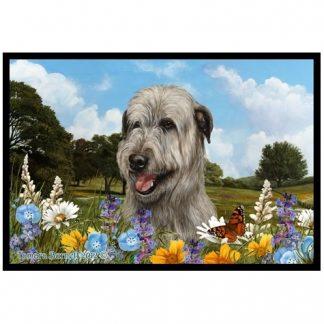 Irish Wolfhound Mat (Gray) - Summer Flowers