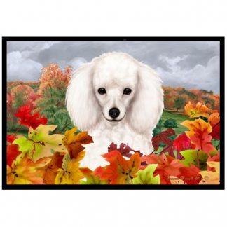 White Poodle Mat - Autumn Leaves