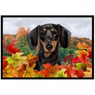 Dachshund Mat - Autumn Leaves (Black Tan)