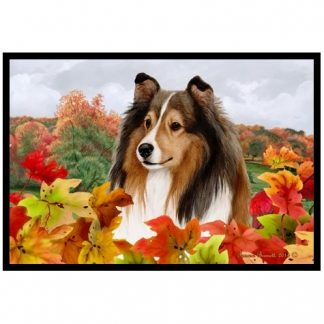 Shetland Sheepdog Mat - Autumn Leaves