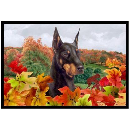 Doberman Pinscher Mat - Autumn Leaves