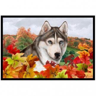 Siberian Husky Mat - Autumn Leaves (Grey)