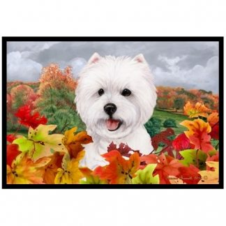 West Highland Terrier Mat - Autumn Leaves
