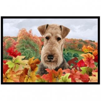 Airedale Terrier Mat - Autumn Leaves
