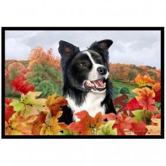 Border Collie Mat - Autumn Leaves