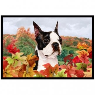 Boston Terrier Mat - Autumn Leaves