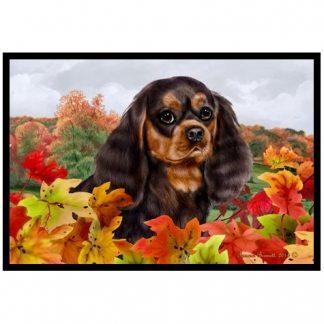 Black & Tan Cavalier Spaniel Mat - Autumn Leaves