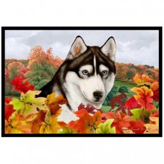 Siberian Husky Mat - Autumn Leaves (Black)