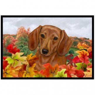Dachshund Mat - Autumn Leaves (Red)