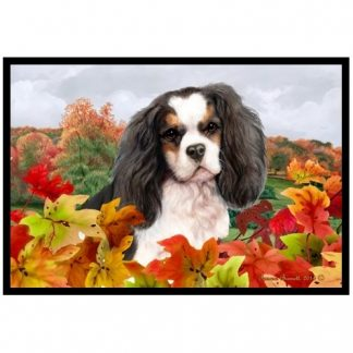 Tri Cavalier Spaniel Mat - Autumn Leaves