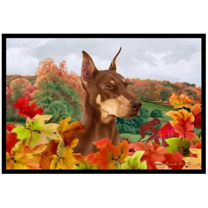 Doberman Pinscher Mat - Autumn Leaves (Red)