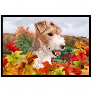 Wire Fox Terrier Mat - Autumn Leaves