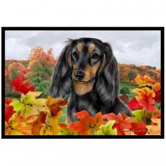 Longhaired Dachshund Mat - Autumn Leaves (Black Tan)
