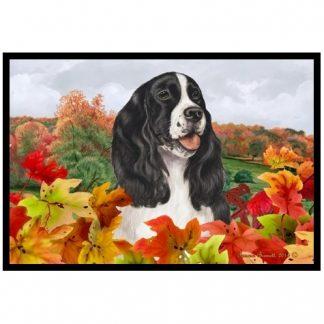 Springer Spaniel Mat - Autumn Leaves (Black)