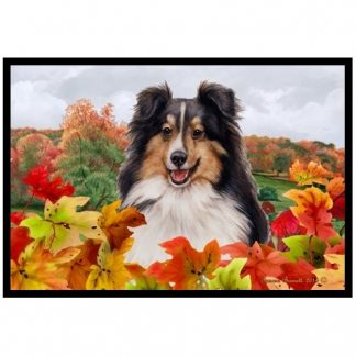 Tri Shetland Sheepdog Mat - Autumn Leaves