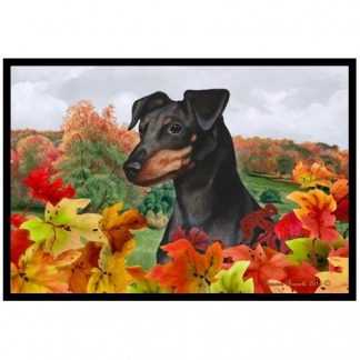 Miniature Pinscher Mat - Autumn Leaves (Uncropped-Black Tan)
