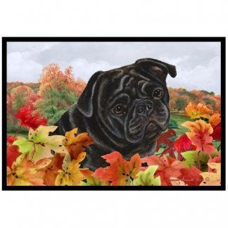 Pug Mat - Autumn Leaves (Black)