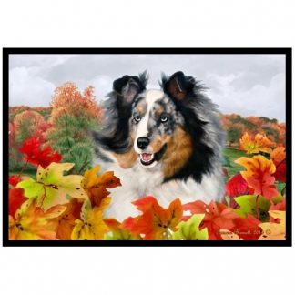 Blue Merle Shetland Sheepdog Mat - Autumn Leaves