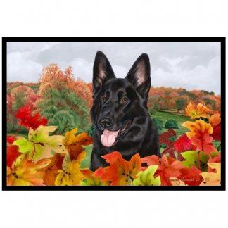 German Shepherd Mat - Autumn Leaves (Black)