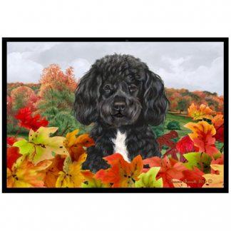 Portuguese Water Dog Mat - Autumn Leaves (Black White)