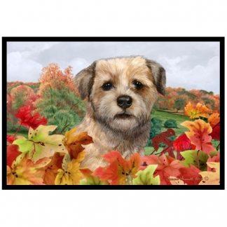 Border Terrier Mat - Autumn Leaves