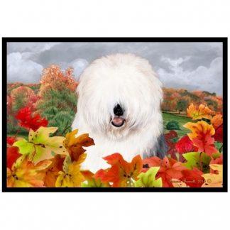 Old English Sheepdog Mat - Autumn Leaves