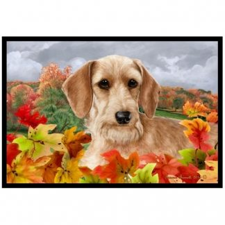 Wirehaired Dachshund Mat - Autumn Leaves