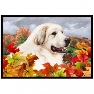 Great Pyrenees Mat - Autumn Leaves