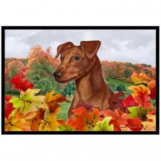 Miniature Pinscher Mat - Autumn Leaves (Uncropped-Red)