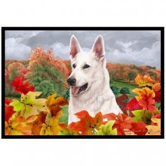 German Shepherd Mat - Autumn Leaves (White)