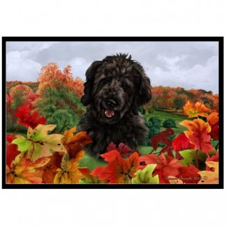 Goldendoodle Mat - Autumn Leaves (Black)